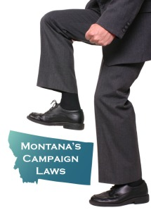 Picture of a man stepping on campaign laws